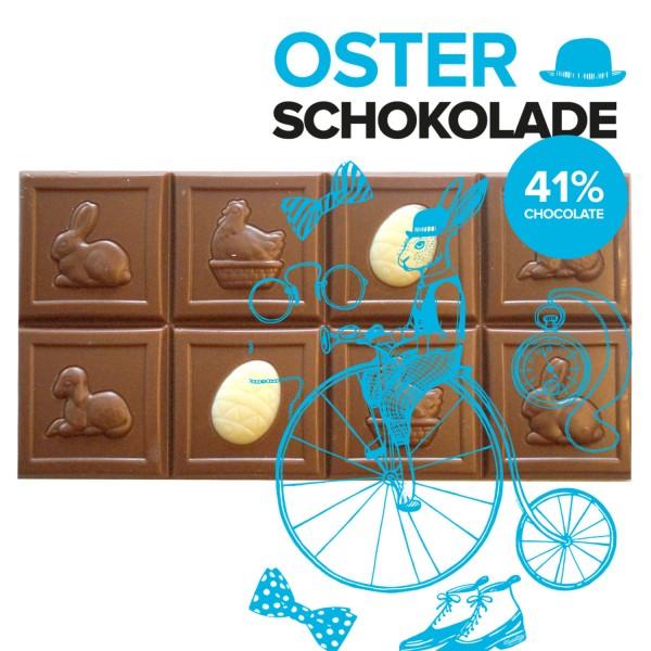 Oster-Tafel aus Bio-Schokolade, Edelbitter/Vollmilch, saisonales Osterprodukt