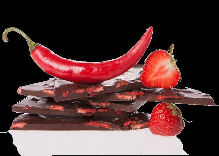 Edelbitter Erdbeer Chili Bio Schokolade