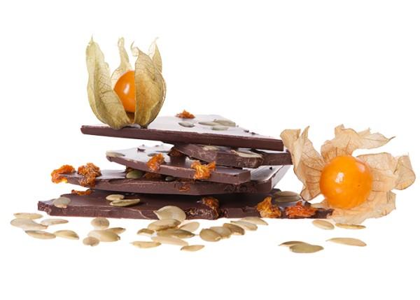 Edelbitter Physalis & Kürbiskern - Bioschokolade