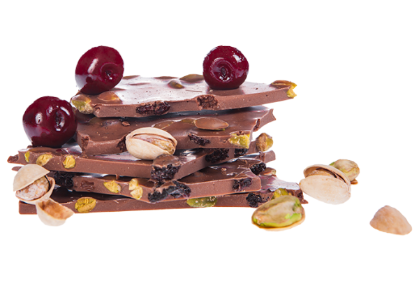 Vollmilch Pistazie & Sauerkirsche - Bioschokolade, saisonales Osterprodukt